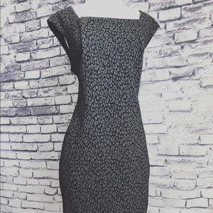 Calvin Klein Black Grey Retro Vintage Vibe Dress